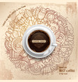 Coffee Grunge Pattern Template vector image