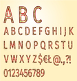 Alphabet of ornaments gold background vector image