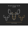 Monogram elk Totem moose Elk Horn Set of vector image