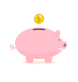 piggy bank with a gold coin vector image