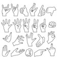 realistic shape hand gestures outline line stroke vector image