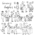 Set of grocery shoppers hand sketching vector image