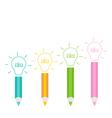 Set of pencils and shining light bulbs Business id vector image