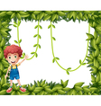 A boy showing the leafy frame with vine plants vector image