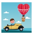 Boy driver classic car girl flying heart vector image