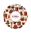 Coffee poster of espresso latte hot drinks vector image