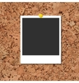cork board with photo card and yellow pin vector image