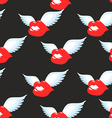 Kiss seamless pattern Red luscious lips with wings vector image