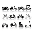 Motorcycles and bicycles set of black icons vector image