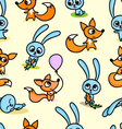 pattern with foxes and hares vector image