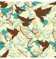 seamless pattern of a flock flying pigeons vector image