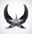 Silver star with Rock Star banner and wings vector image