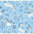 doodle seamless pattern with magic unicorns vector image vector image