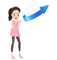 a girl arrow and envelop vector image vector image