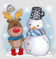 cute christmas deer and snowman vector image