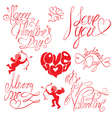 Set of hand written text Happy Valentines Day vector image