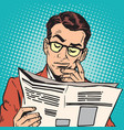 avatar portrait man reading a newspaper vector image
