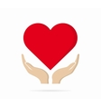 Heart in hand logo or icon vector image