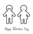 Happy Valentines Day Love card Man Woman icon with vector image