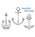 Isolated vintage marine anchors in sketch style vector image
