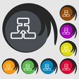 Network icon sign Symbol on eight colored buttons vector image