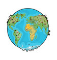 planet earth and animals beast on continents vector image