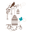 Vintage bird cage with tree branches and birds vector image