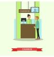 bank teller serving vector image