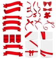 Red Ribbon and Bow Set vector image