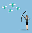 Business woman with a bow and arrow hitting the vector image