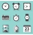 Flat icon set Time Clock White style vector image