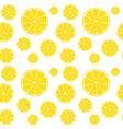 Lemons slices on white seamless pattern vector image