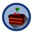 modern flat icon with slice of chocolate cake vector image