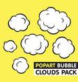 Pop art bubble clouds pack vector image