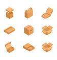 set of isometric cardboard boxes to sent mail vector image