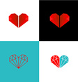 Two diamonds heart logo vector image