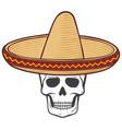 mexico skull sombrero vector image vector image