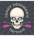 Tattoo parlor logo template Hipster skull with vector image