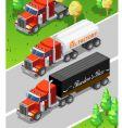 isometric trucks vector image vector image