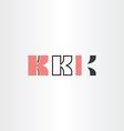 black red letter k logo set vector image
