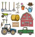 farming sketch icons vector image
