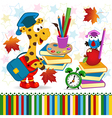 giraffe bird school supplies vector image