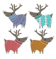 Set of four cute reindeers in amusing knitted vector image