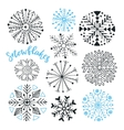 Snowflakes hand drawn collection Winter vector image