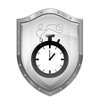 metallic shield with chronometer with cord vector image