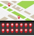 Map with navigation icons vector image