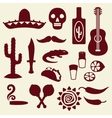 Collection of mexican icons in native style vector image