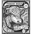 Vintage Beef Advertising Page on Blackboard vector image