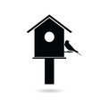 birdhouses with sparrow black vector image