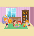 children playing with toys in playroom of vector image